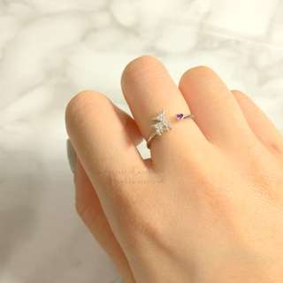 MADE IN KOREA Cute Bambi Deer Pink Heart Crystal Ring