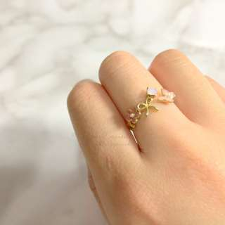 MADE IN KOREA Pretty Flower Pink Ribbon Bow Ring