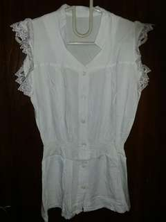 💜 White Sleeveless Lace Top