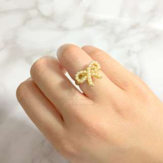 MADE IN KOREA Pretty Pearl Ribbon Bow Ring