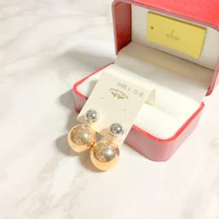 MADE IN KOREA Pretty Double Bauble Rose Gold Earrings 波波耳環