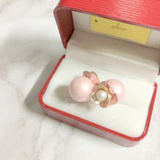MADE IN KOREA Pretty Dior Triables Style Earring Pearl Pink Flower 波波耳環