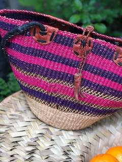Hand weaved basket bag from Ghana
