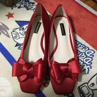 紅色平底婚鞋