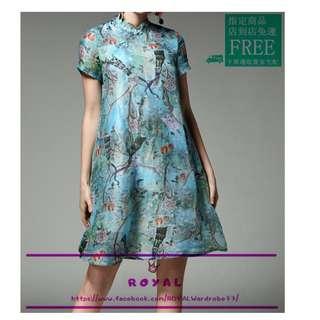 中國風孔雀藍花鳥改良式旗袍 Z9026