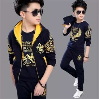 3pcs set boy - hoodie, pants, shirt sport hawked hoodie