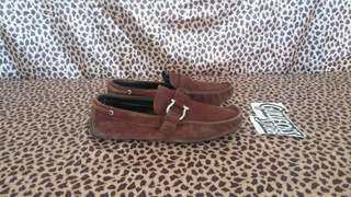 Salvatore Ferragamo Leather Suede Loafer Second Shoes Sepatu Bekas branded import