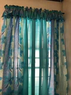 3 in 1 set Geena Silk Curtain home decor