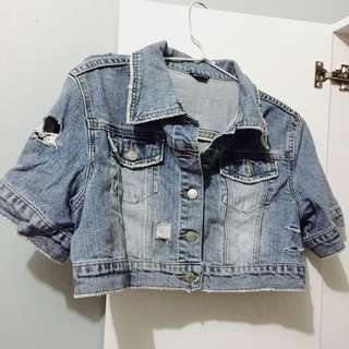 MouthValley RIPPED JEANS CROP JACKET