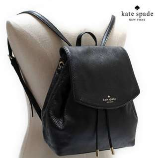 Kate Spade black leather backpack