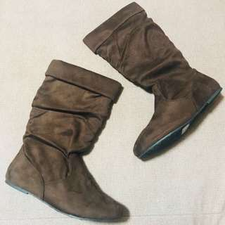 Soft Suede Brown Mid Calf Boots