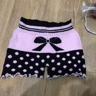 🚚 日系保暖針織可愛木耳邊蝴蝶結內搭褲