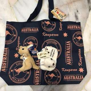 🆕Australia Tote Bag + Pouch + Kangaroo Plush