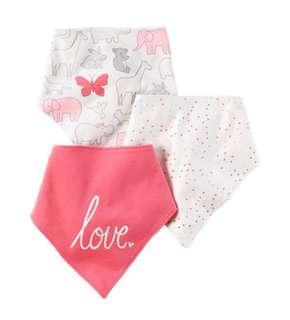 Brand New Carter's 3 Pack Bandana Bibs For Baby Girl