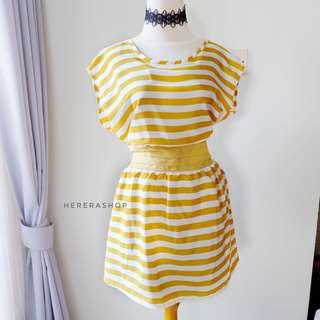 Dress pesta garis lucu PL75