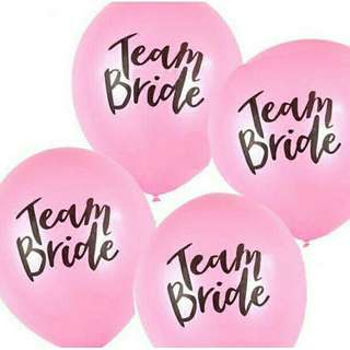 "*FREE DELIVERY to WM only / Ready stock* 3pcs ""Team Bride"" balloon without air/helium as shown in design/color pink, white. Free delivery is applied for this item."