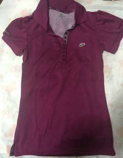 Lacoste marroon drifit collared blouse