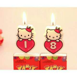 *FREE DELIVERY to WM only / Ready stock* Hi kitty design number candle each as shown in design except 1,2/color. Free delivery is applied for this item.