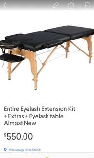 Entire Eyelash extension kit + extras + lash table