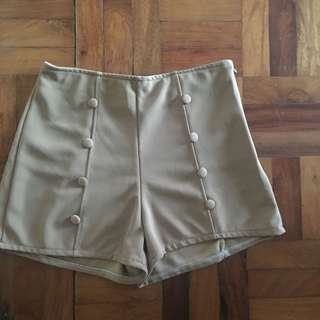 High Waist Khaki Brown Shorts