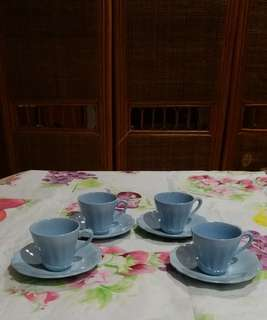 Bone China Miniature Cups & Saucers ( J.E.G. MEAKIN England Celeste)(Self Collect @Blk 113 J.E. St. 13, 600113)
