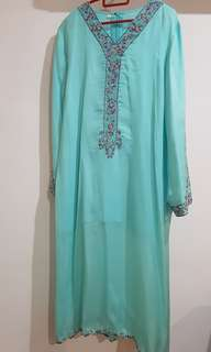 (10% off Raya Sale) Tiffany Blue Blouse with Songket prints Wrap