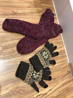 🚚 韓國買的保暖厚襪+觸控手套