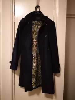 Navy coat with removable hoodie