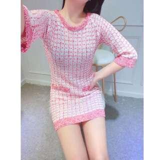 🚚 名媛奢華優雅經典時髦小香風圓領針織五分袖拼色格紋氣質洋裝