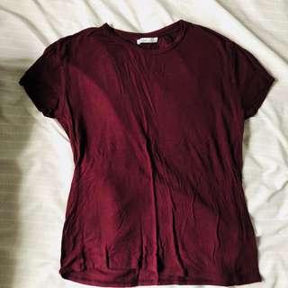 Zara burgundy basic tshirt