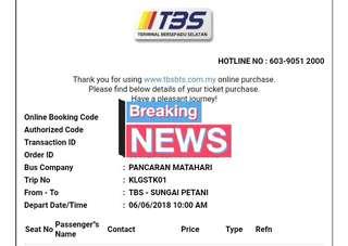 Tiket Bas Raya (TBS-SP / 6/6)