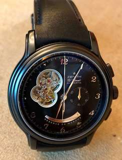Zenith 限量版 limited edition (28/100) PVD-coated power reserve, see through back 透明底。原價original $58,000 歡迎出價!