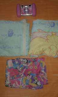 Winnie The Pooh Fitted Crib/Baby Bed Sheet and Bolster Pillow Case