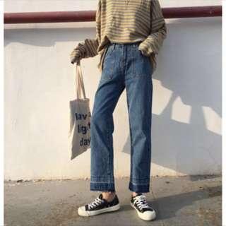 全新造型牛仔寬褲M