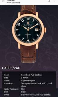 Catena ~ Swiss made 瑞士製,機械自動男錶(不需電池) 鍍玫瑰金錶殼,黑錶面 41mm 全新,有吊牌有原裝盒