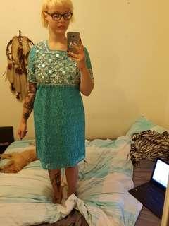 Vintage beaded blue dress