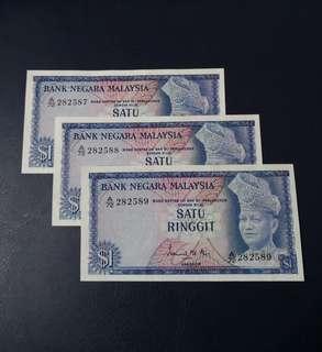 🇲🇾 Malaysia 1st Series RM1 Banknote~3pcs Consecutive S/N