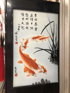 Chinese tile koi painting with frame