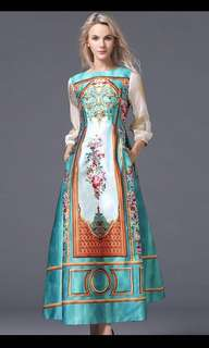 BN Victorian Print Silken Long Dress