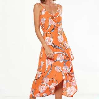 [po open] cotton on - strappy wrap midi dress