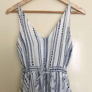 Minkpink blue and white striped dress