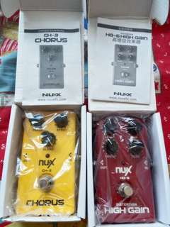 NUX chorus (CH-3) and Nux High gain distortion (HG-6)