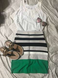 BUNDLE: White flowy chiffon embroidered top and striped pencil skirt (shoes and shades NOT included)