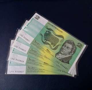 🇦🇺 *UNC* 1985 Australia $2 Paper Banknote~2 Set Consecutive Pair (total 4pcs)
