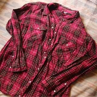 H&M Pink Plaid Flannel