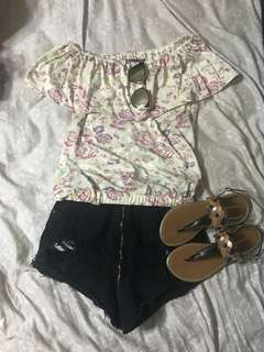 BUNDLE: Floral off-shoulder top and Black High Waisted Denim Shorts (Shades and Sandals NOT included)