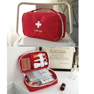 Instock BN First Aid Medicine Box Storage Organizer Bag - Red / Grey