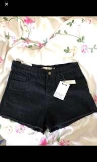 ASOS black denim shorts