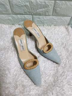 Authentic Jimmy Choo Denim Kitten Heel Pointed Pumps Size 35