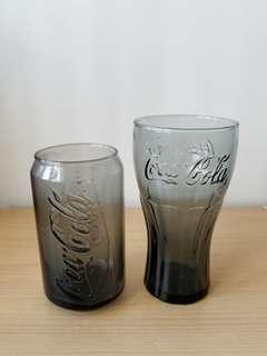黑色Coca cola 可樂玻璃杯2隻